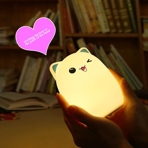 Image 3 - Touch Sensor Colorful Cat LED Night Light Remote Control RGB Silicone USB Rechargeable Bedroom Bedside Lamp for Children Baby