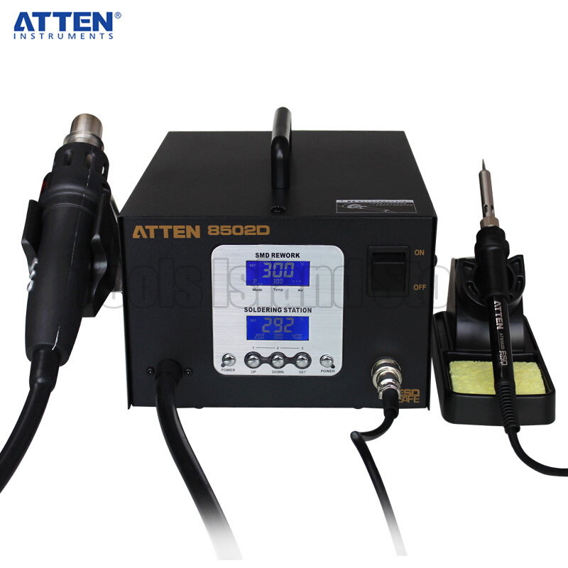 ATTEN AT8502D 110V 220V Lead Free Soldering Station SMD Rework Station ATTEN 8502D Advanced Hot Air