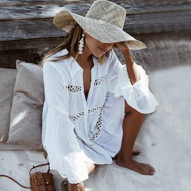 Beach Dress Womens 2019 Summer Shirt Type Trumpet Sleeve Beach Dress Holiday Bohemian Sun Protection Dress Vestidos