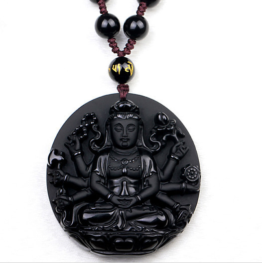 Hot Lucky Carved Natural Black Obsidian Guanyin Buddha Pendant wholesale Free Shipping