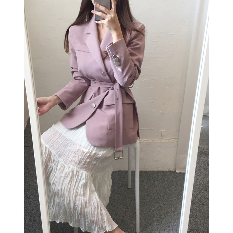 Women Suit Jacket New Korean Version Spring 2019 Fashionable Temperament Waist-Slim Long-Sleeved Casual Suit Single-Row Buttons