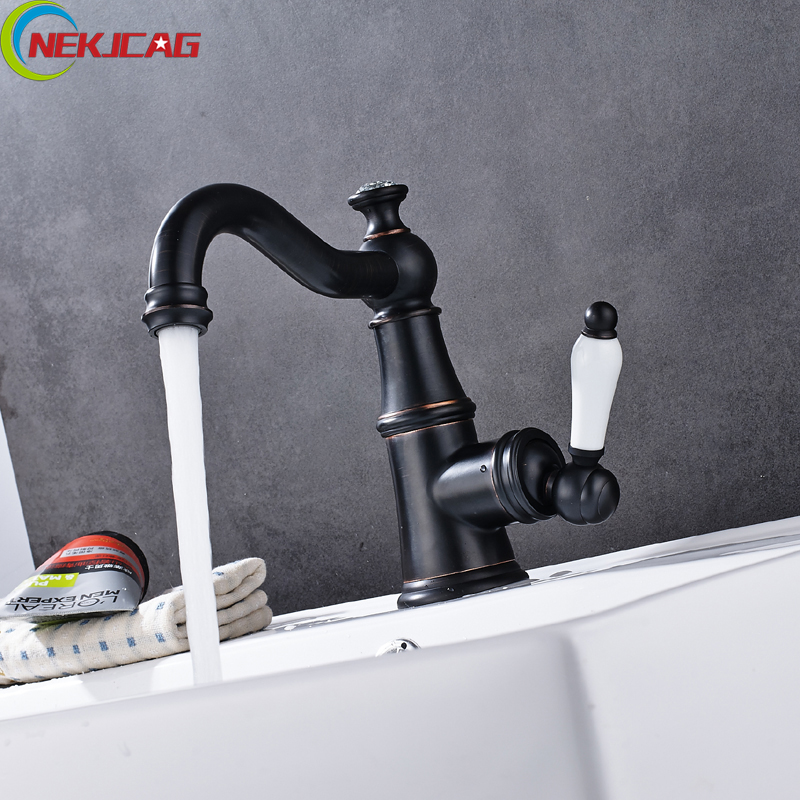 Free Shipping Oil Rubbed Bronze Bath Faucet Single Ceramic Handle Basin Sink Mixer Tap with 2PCS 40cm Inlet Pipe free postage oil rubbed bronze tooth brush holder double ceramic cups holder