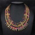 Barato africano multi layer colar maxi boho colar frisado colier collares bib choker declaração vintage jóias indiano