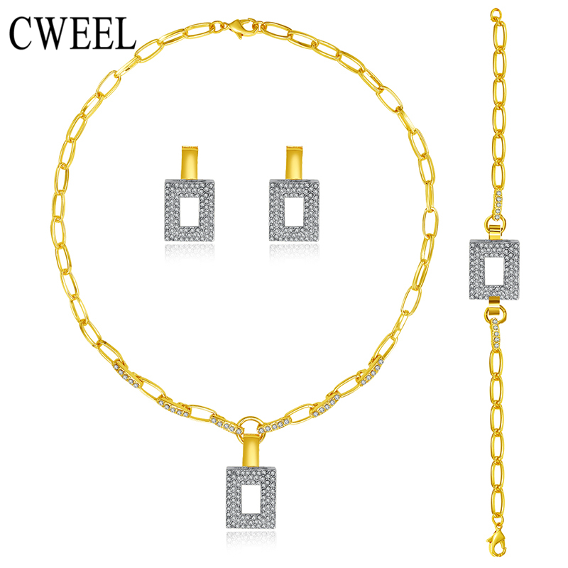 CWEEL Jewelry Sets For Women Gold Silver Color Bridal Wedding African Vintage Nickel Free Necklace Earring Party Holiday Gift luxusteel gold silver color round opal stainless steel earring sets nickel free stud earring wholesale jewelry