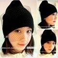 Frete grátis chapéu supermodelo véu rua tirar fios net chapéu gorro de lã tricotada outono Chapéus de inverno Para As Mulheres das Mulheres gorros