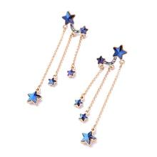 KISS ME Brand Blue Stars Tassel Long Earrings Delicate Alloy Vintage Drop Earrings for Women Fashion Jewelry