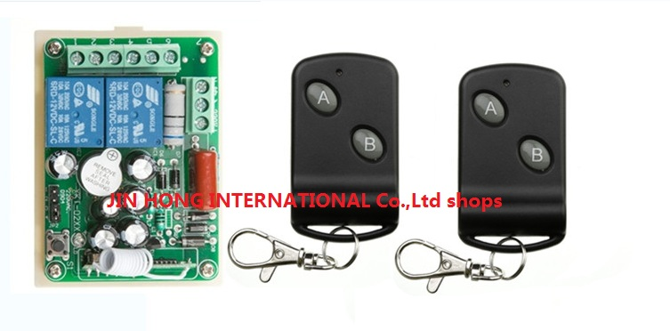 Free Shipping Smart home 220V 2CH RF Wireless Remote Control Switch learning code 1pcs recevier + 2pcs transmitter