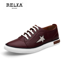 Купить с кэшбэком RELKA Vintage Men Casual Shoes High Quality Genuine Leather Round Toe Soft Heel Shoes Lace-up Fashion Luxury Retro Men Shoes N20