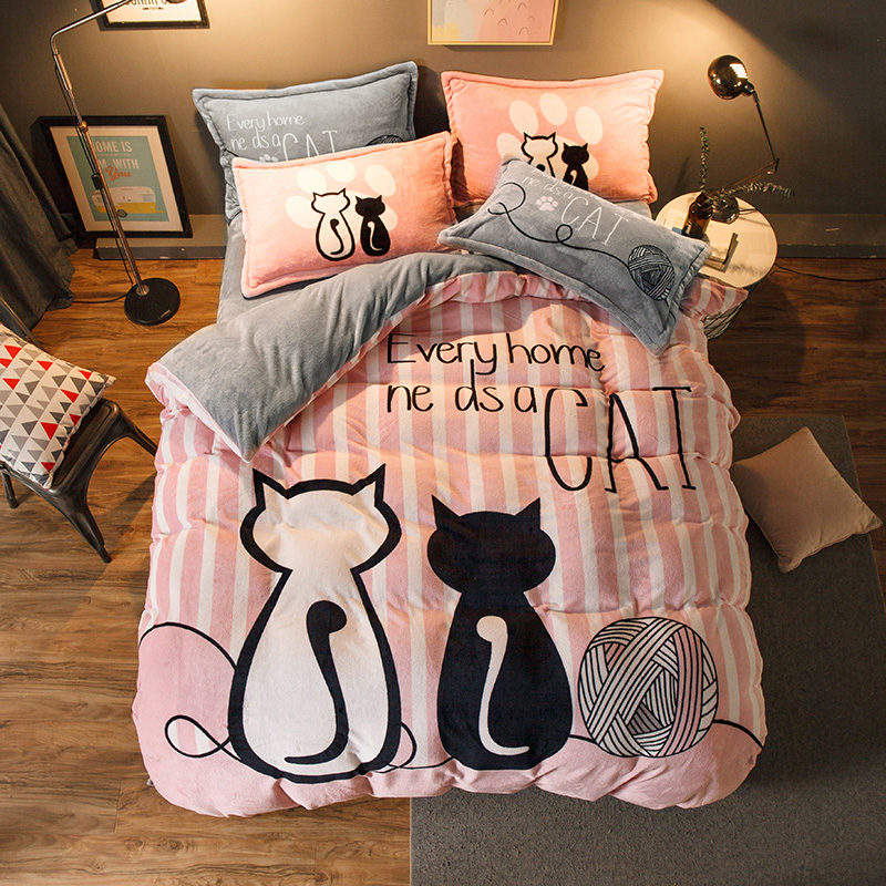Luxury Bedding Set Flannel Cartoon Pink Cat Duvet Cover Set Queen Size Bed Linen Valentine Cute Bed Sheet Kids Bedding(China)