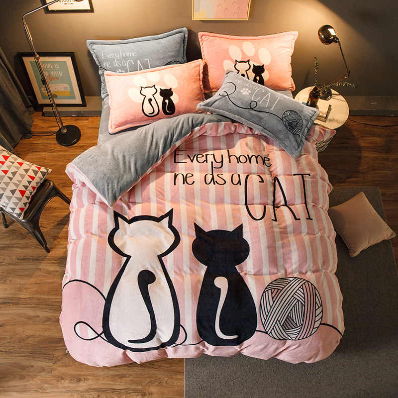 Luxury Bedding Set Flannel Cartoon Pink Cat Duvet Cover Set Queen Size Bed Linen Valentine Cute Bed Sheet Kids Bedding