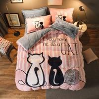 Luxury Bedding Set Flannel Cartoon Pink Cat Duvet Cover Set Queen Size Bed Linen Valentine Cute Bed Sheet Kids Bedding