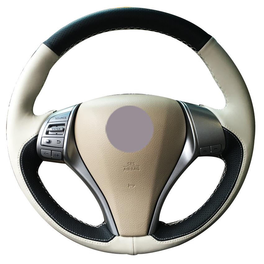 Black Leather Beige Leather Car Steering Wheel Cover for Nissan Teana Altima 2013 2016 X Trail