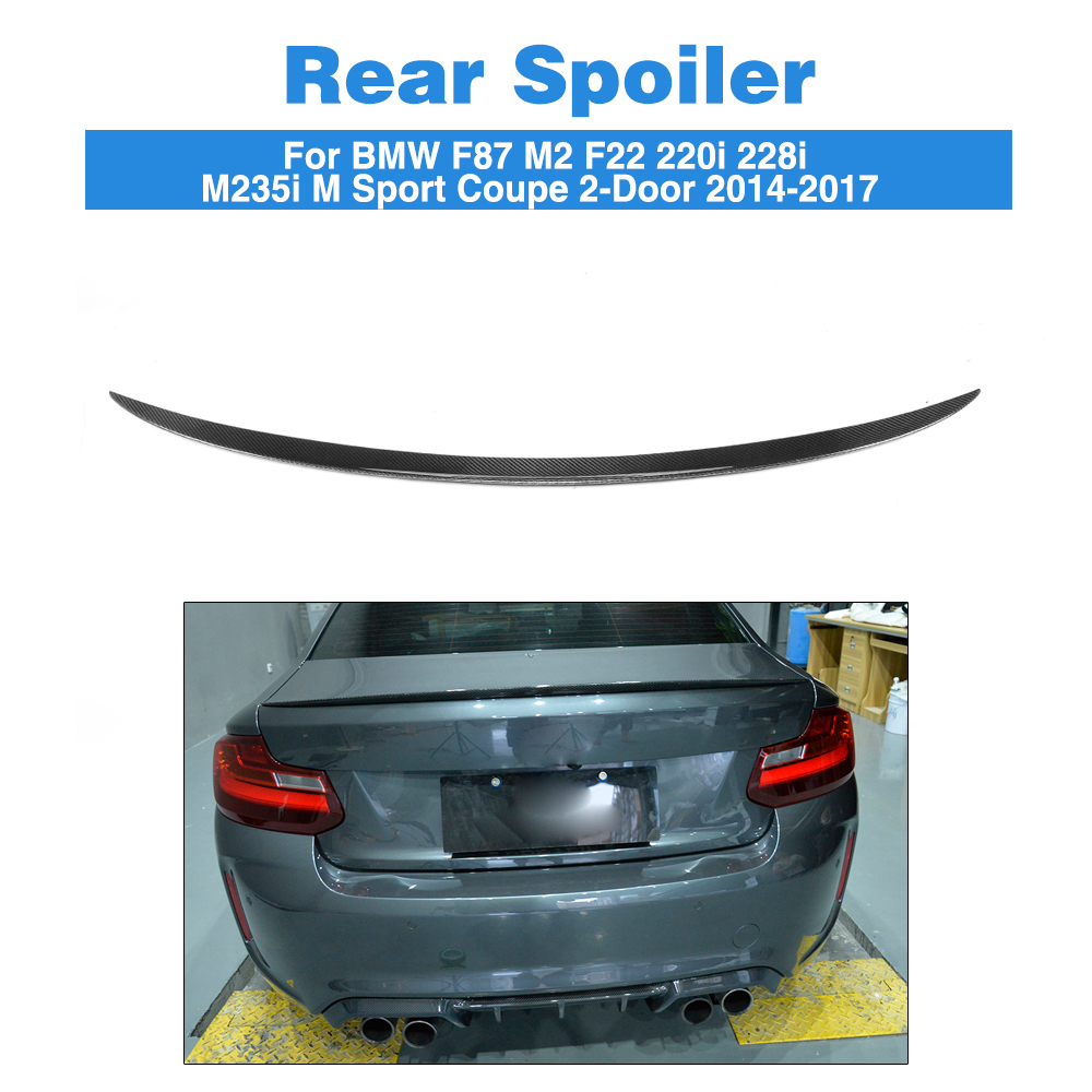 Carbon Fiber Rear Spoiler Boot Lid Wings for BMW 2 Series F87 M2 F22 220i 228i M235i M Sport Coupe 2-Door 2014-2017 carbon firber frp rear diffuser lip spoiler protector exterior for bmw f30 m sport bumper 2012 2017 single exhaust two outlet