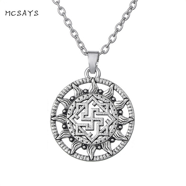 MCSAYS Norse Viking Jewelry Antique Silver Sun God Viking Rune