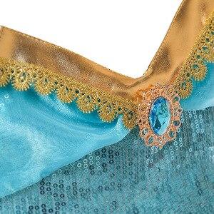 Image 4 - Ensemble deux pièces réfléchissant princesse arabe Aladdin pour enfants, Costume à paillettes, cosplay Jasmine, tenue dhalloween pour enfants