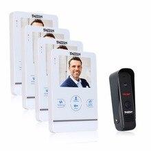 Tmezon 4 pulgadas tft monitor en color 1200tvl cámara video de la puerta teléfono intercom sistema de altavoces a prueba de agua visión nocturna por infrarrojos de seguridad 4v1