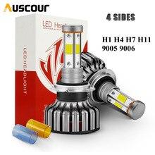 Светодиодные лампы для передних фар, 2 шт., H1, H7, H4, H11, 9005, HB3, 9006, HB4, 100 Вт, 12000 лм, 360 градусное освещение, 4 сторонние чипы COB, Canbus