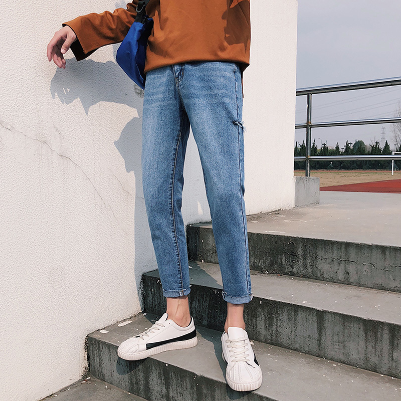 2018 Spring Newest Mens Korean Style Fashion Personality Side Of The Hole Slim Fit Pants Black/Blue Jeans Trousers Size 28-34