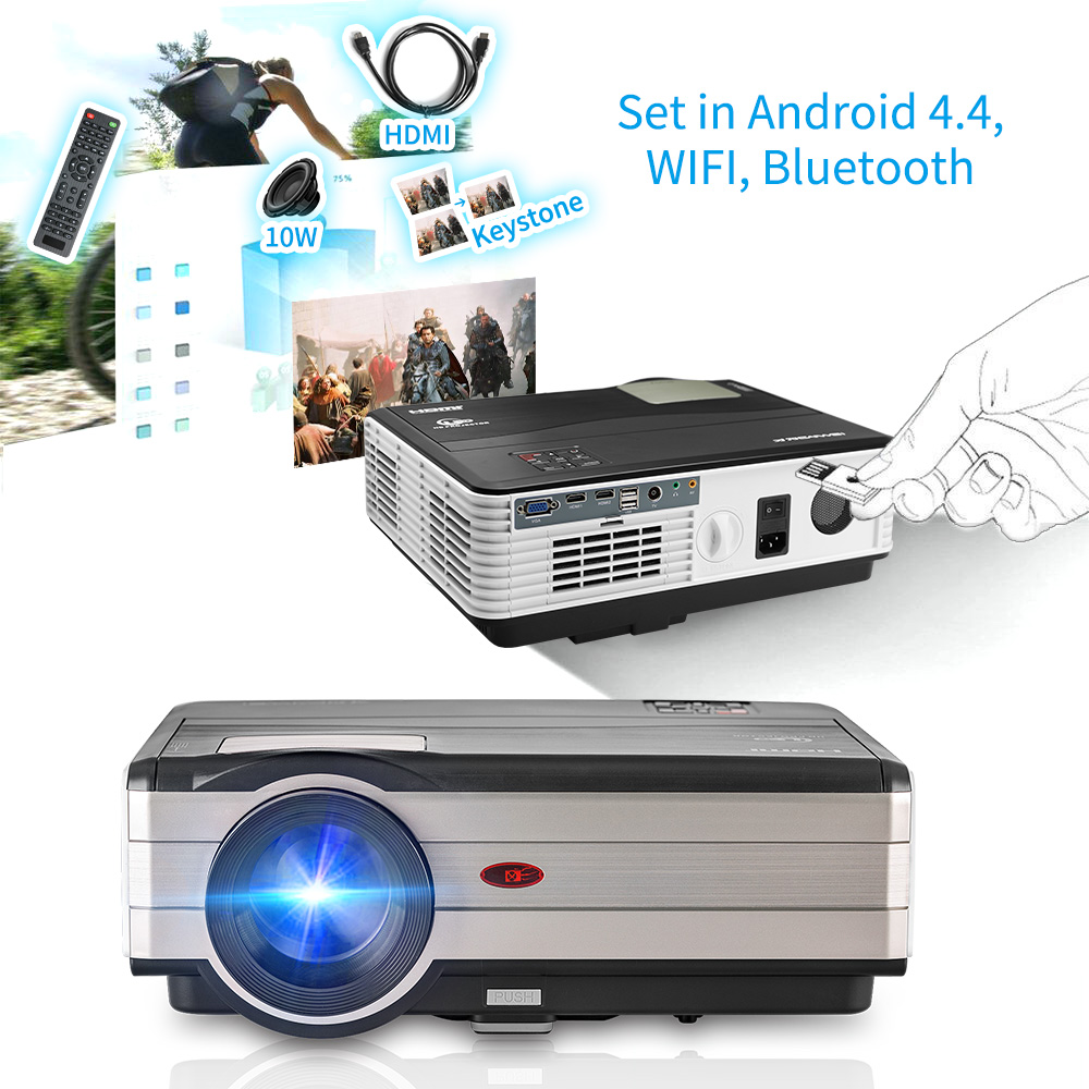 Caiwei Digital Led Projector Home Theater Beamer Lcd: CAIWEI LED Projector Bluetooth Android Portable Home