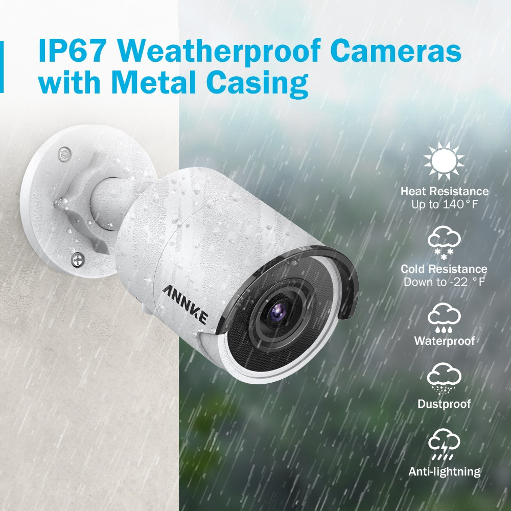 ¤Free ShipANNKE Video-Security-System NVR Ip-Camera HDD H.265 8CH 8MP Ultra 4K 4PCS with Weatherproof²
