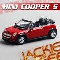 Caliente venta 1 unid 1:28 12.5 cm KINSMART delicado MINI cooper S convertible modelo de simulación de aleación de coche decoración regalo del juguete