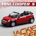 Hot sale 1pc 1:28 12.5cm KINSMART delicate MINI cooper S convertible simulation model alloy car home decoration gift toy