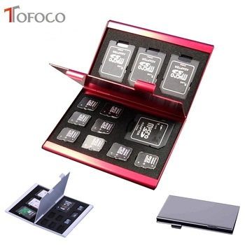 2017 TOFOCO stop Aluminium Micro dla SD MMC TF pudełko na karty pamięci Protecter Case 4x dla karty SD 8 x karta Micro sim tanie i dobre opinie Srebrny Black Czerwony yzSDsckh70614 Karta memory stick Karta sd Aluminium Alloy