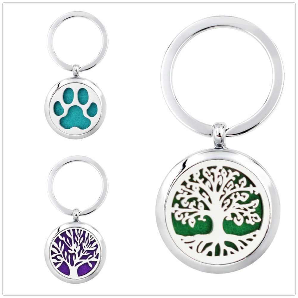 Árvore da vida anel chave da flor de Lótus de difusão essencial aromaterapia óleo difusor medalhão com 30 milímetros anel jóias DIY Livre 5 almofadas
