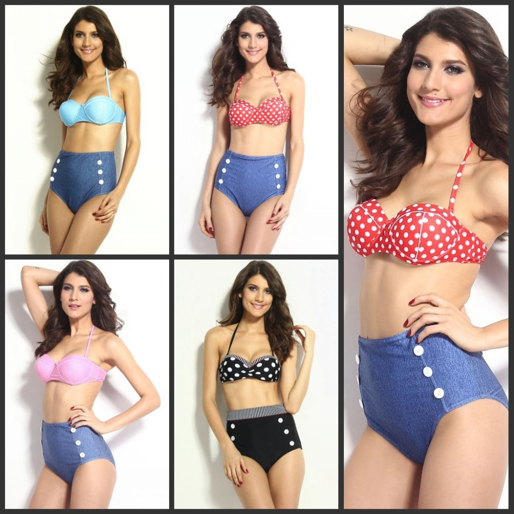 92bdc1a18a 2015 new Women spring summer Vintage Bohemian Blue red Polka Dot High waist  Swimwear push Pin up Bikini Set sexy bathing suit on Aliexpress.com |  Alibaba ...