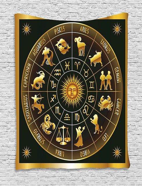 US $16 61 30% OFF|Astrology Tapestry Wheel Zodiac Astrological Signs in  Circle with Sun Moon Image in Circle Wall Hanging for Bedroom Living  Room-in