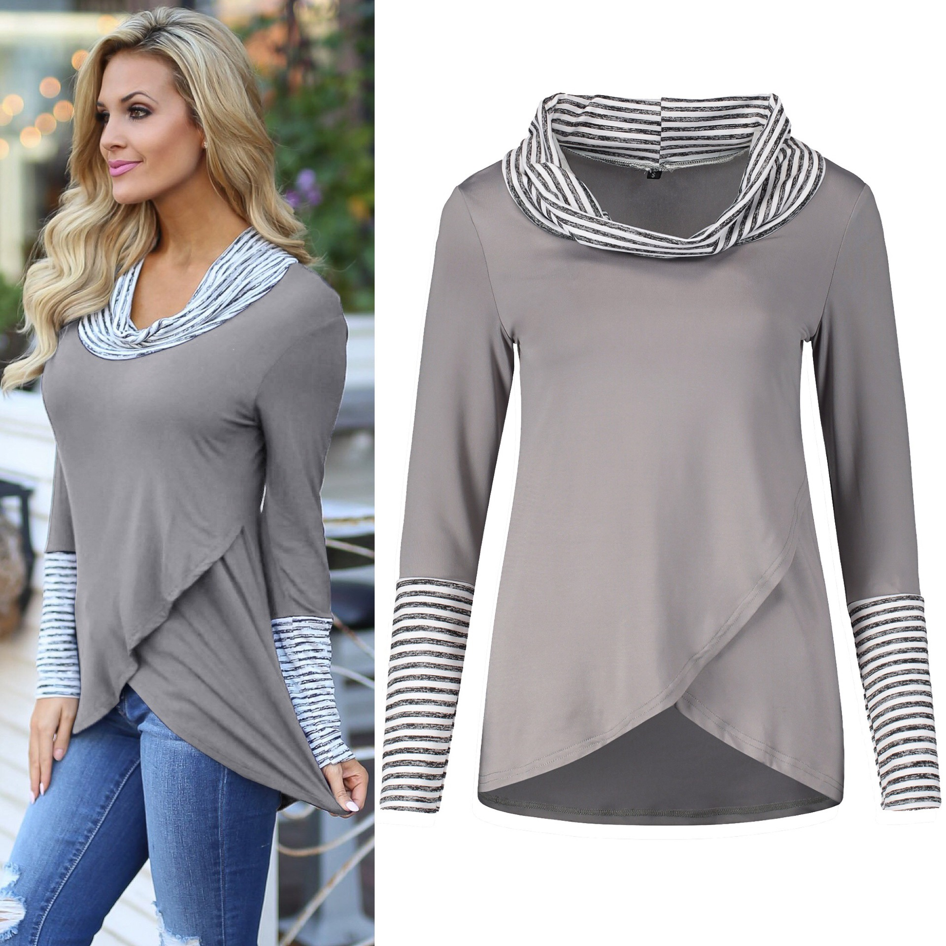mama tee style autumn tops turleneck woman bottom T slim 2019 female long sleeve striped female T plus size women gothic in T Shirts from Women 39 s Clothing