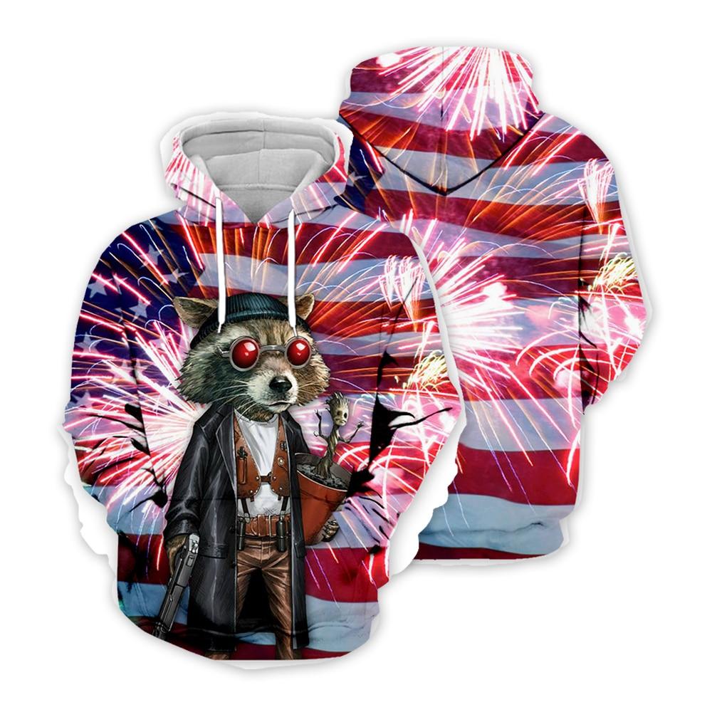 Newest Ice Fire USA Raccoon Hoodies Men/Women Sweatshirt  Hooded United States America Flg Independence Day 3D Water Hoody ID008