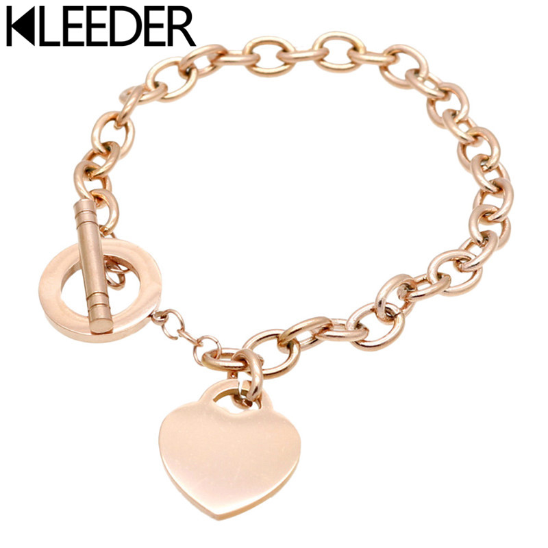 KLEEDER Fashion Stainless Steel Love Heart Shaped Bracelet Rose Gold Silver Color Titanium Steel Bracelets for Women Jewelry in Chain Link Bracelets from Jewelry Accessories