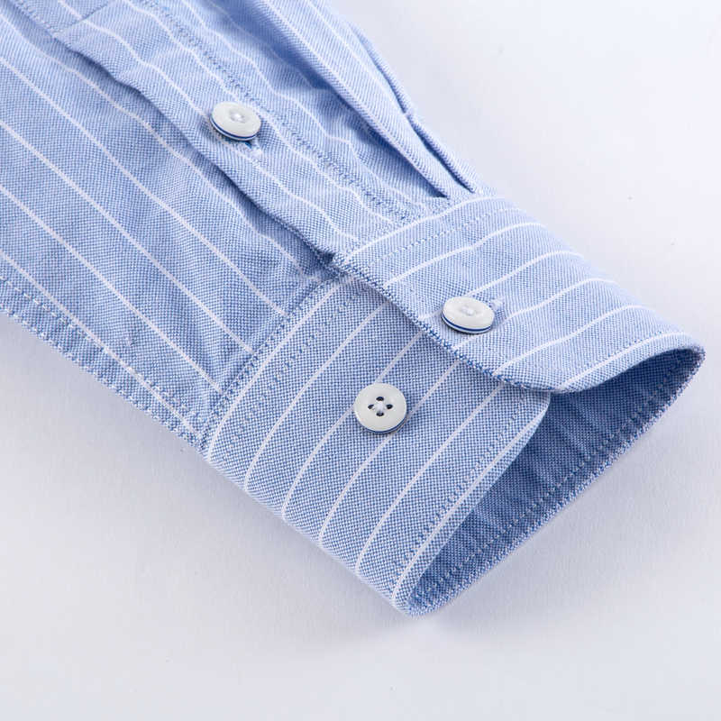 新綿 100% 長袖シャツ男性はシャツチェック柄/ストライプのシャツプラスサイズ 5XL オックスフォードメンズドレスシャツカミーサソーシャル