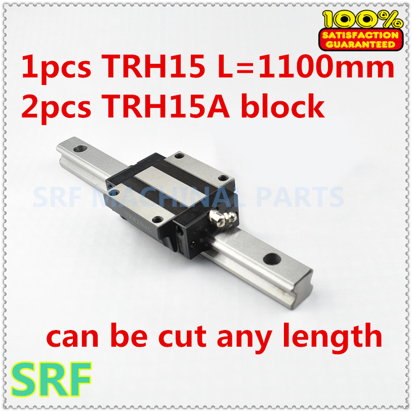 15mm width Linear Guide Rail 1pcs TRH15  L=1100mm Linear rail way +2pcs TRH15A Flange slide block for CNC fotomate lp 02 200mm movable 2 way macro focusing rail slider black