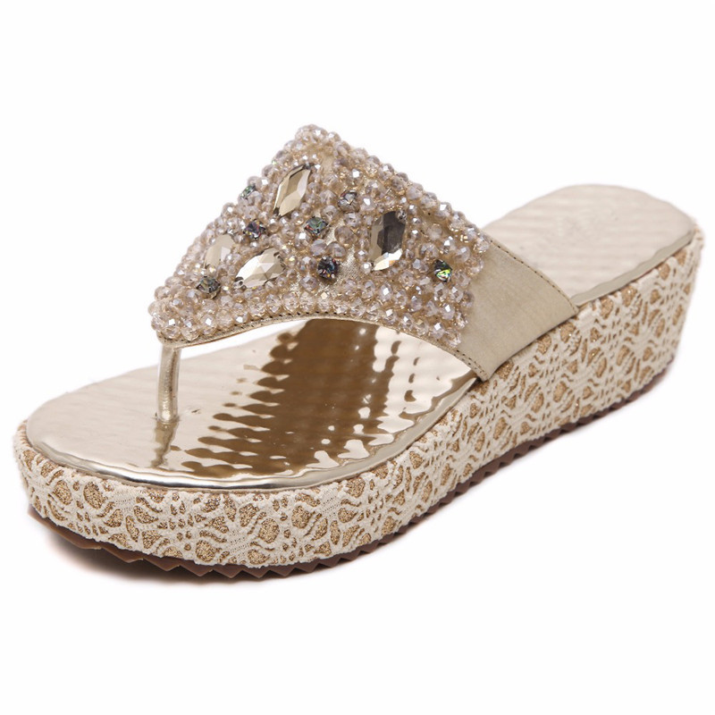 6a8e6de2c MVVJKE Gold Silver Beading Rhinestones Women Summer Style Shoes Flip Flops  Women Wedge Shoes-in Slippers from Shoes on Aliexpress.com
