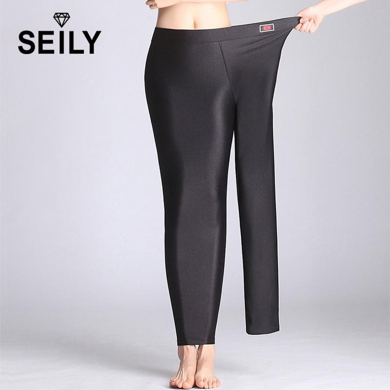 Seily-Leggings chauds dhiver pour femmes, pantalon en molleton, élastique, grande taille, extensible et brillant, en cachemire épais