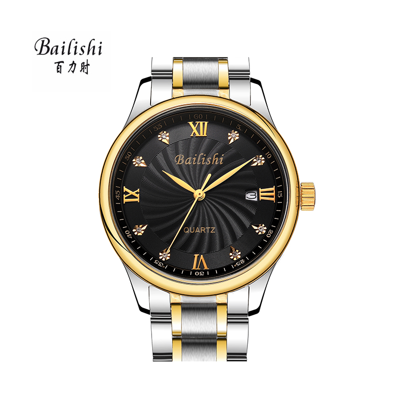 BAILISHI  Top Brand Luxury Men Watches Day Date Hours Clock Male Silver Stainless Steel Casual Quartz Watch Men Sports Wristwath bailishi top luxury brand men watches diamonds hour stainless steel sports wrist watch male causal quartz male watch waterproof