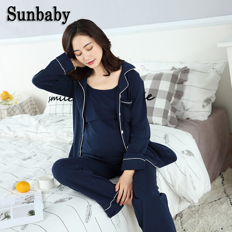 Sunbaby New Spring Casual Fashion Long Sleeve maternity nightwear nursing breastfeeding clothes for pregnant women 3 pcs set maternity clothes new stely fashion loose pure color cloak jacket clothes for pregnant women coat