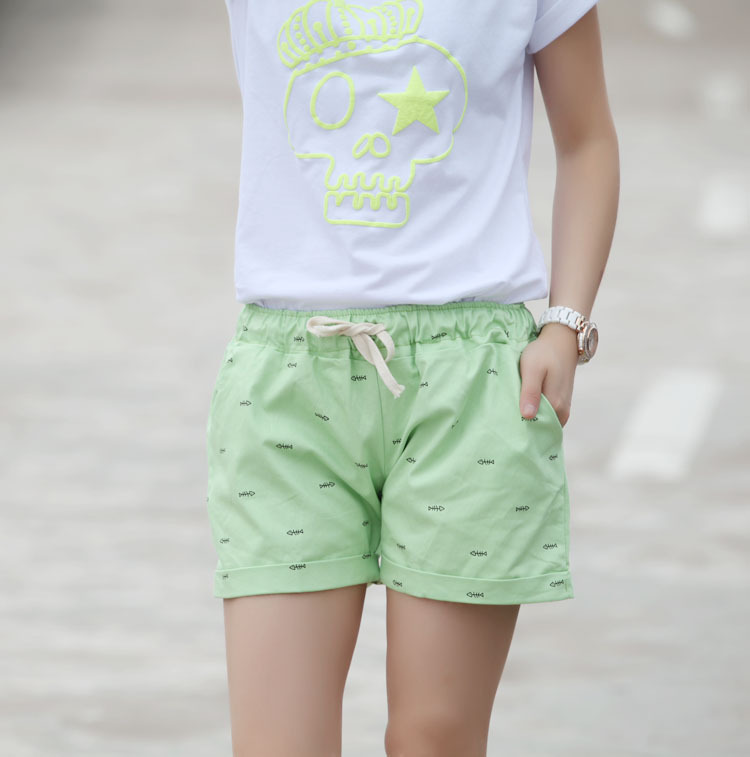 2015 summer cotton shorts women casual fish bone pattern