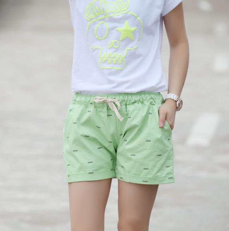 2015 summer cotton shorts women casual fish bone pattern for Women s fishing shorts