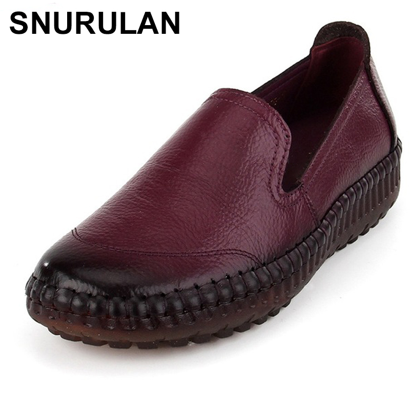 SNURULANRetro Handmade Shoes Women Genuine Leather Flats Fashion Casual Soft Mother Loafers Moccasins Female Driving ShoeE357