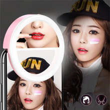 Universal Selfie LED Fill Ring Flash Light Portable Smart Mobile Phone Lamp Luminous Clip Makeup mirror holder 2*AAA