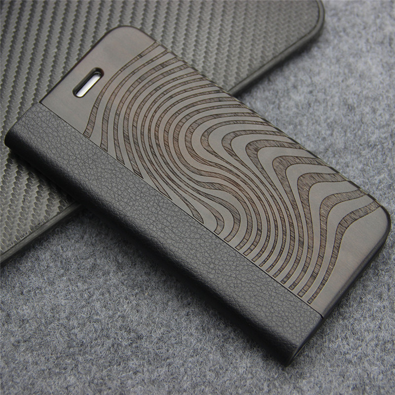 Full Protective Cover for <font><b>iPhone</b></font> 8 Case Real Wood & Leather Flip Case For <font><b>iPhone</b></font> 7 8 Plus Stand Card Holder Magnetic Phone Bag