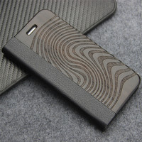 Genuine Leather Wood Case For IPhone 5 5S 5G Luxury Hard Phone Plastic Wooden Bamboo Bag