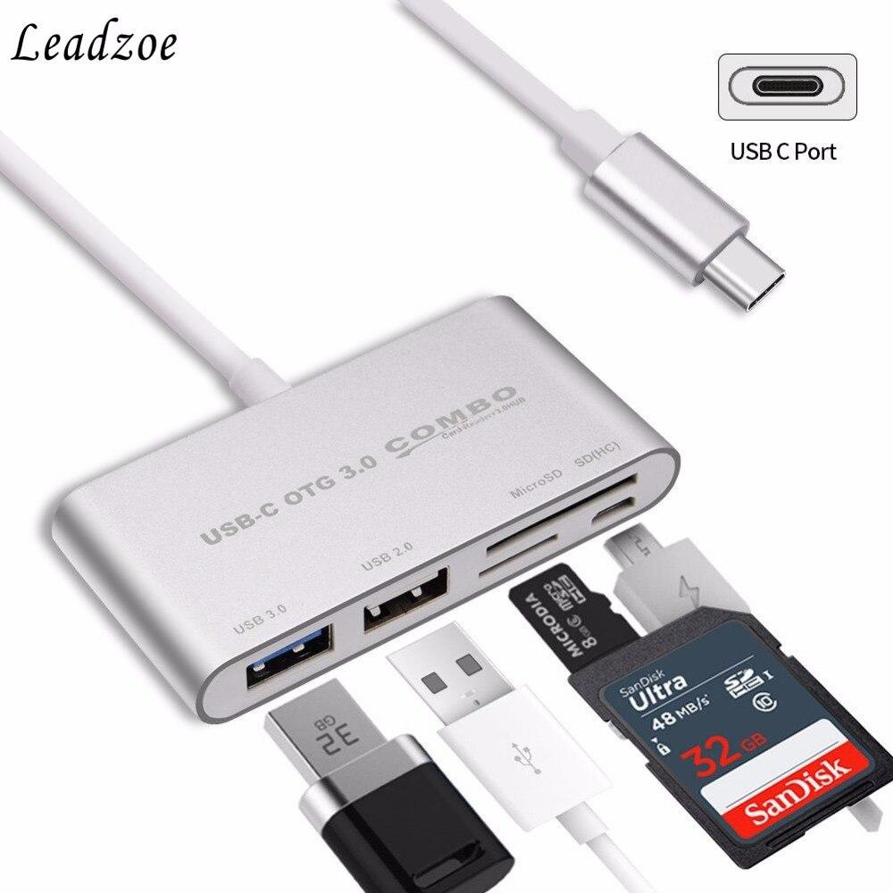 Leadzoe 5 in1 USB C HUB Type C SD TF Card Reader USB 3.0 Hubs with Micro USB Power Port USB Splitter OTG Type c Hub