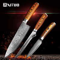 XITUO 3 pièces ensemble de couteaux de cuisine Japonais couteau de cuisine en acier Damas VG10 chef désossage D'office Santoku couteaux manche en bois