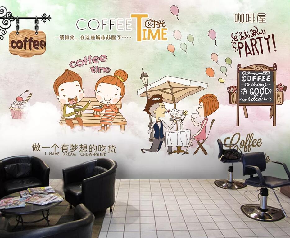 Custom wallpaper mural cartoon cute cafe decoration painting wall