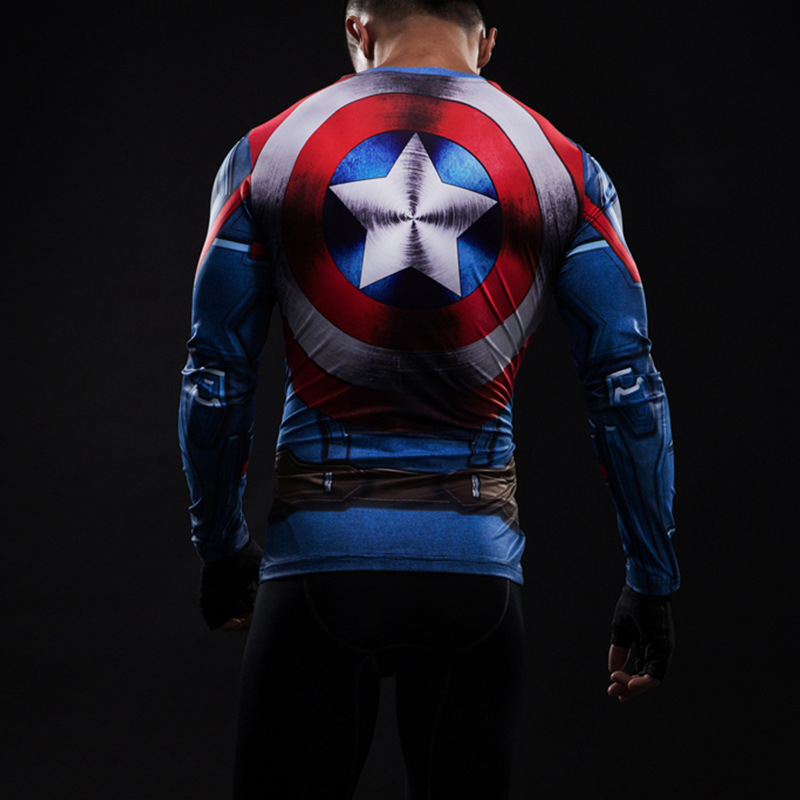 Marvel  America  Captain Civil War long-sleeved compression t shirt men  3D printing cosplay t-shirts 2017 summer fitness tights