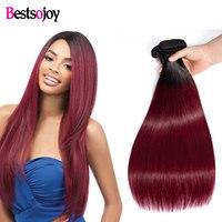 Bestsojoy волос 1/3/4 шт Ombre бразильские Прямые Пучки 1B/бордовый пучки волос